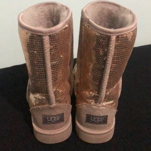 UGG Shoes - UGG Gold Sequined Classic Short Boot Sz 9